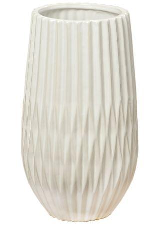 Elegante Steinvase - Bianco - Riffeloptik Blumenvase Dekovase H 31cm