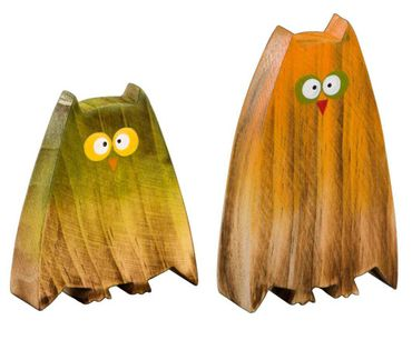 Holz - Aufsteller - Eule - Dekofigur Herbstdeko orange/grün, 2er Set
