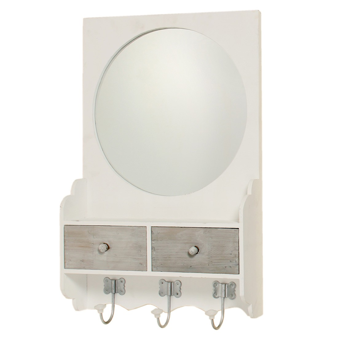 wandspiegel shabby landhaus holz spiegel h ngespiegel mit schubladen. Black Bedroom Furniture Sets. Home Design Ideas