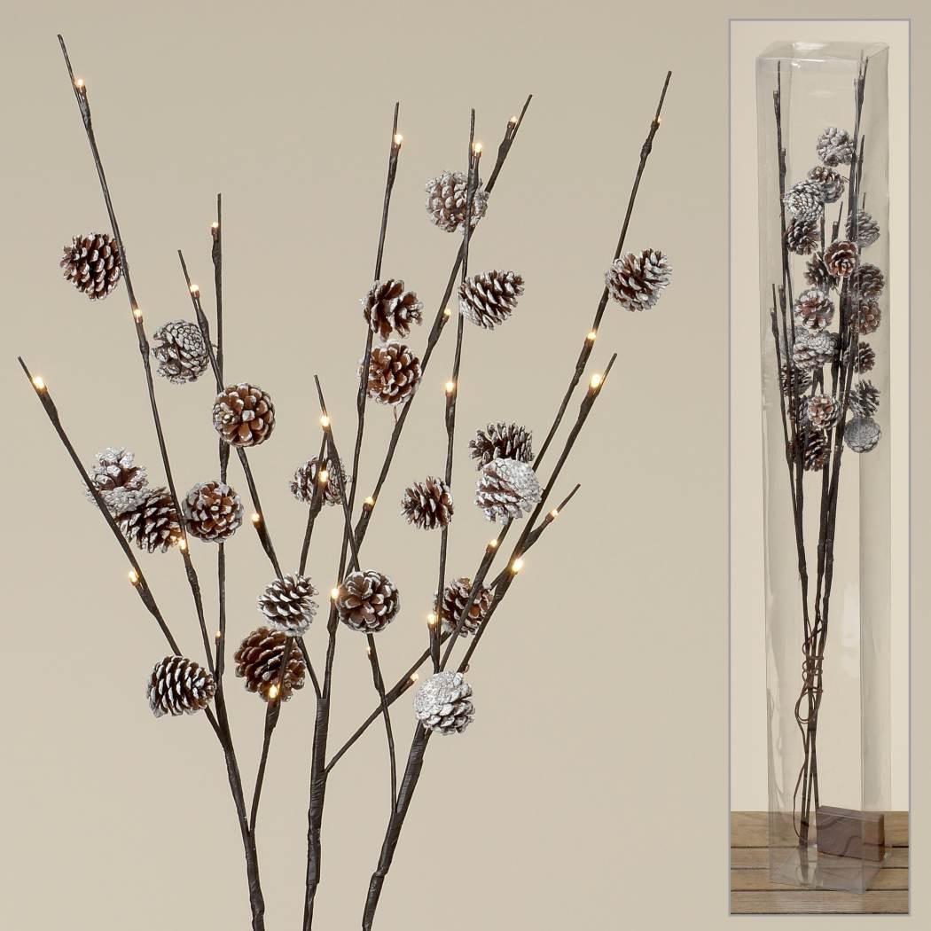 led zweig zapfen dekozweig weihnachtszweig weihnachtsdeko h 90cm. Black Bedroom Furniture Sets. Home Design Ideas