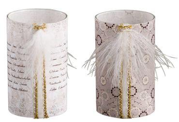 Glas Teelichthalter mit Druck Teelichtglas mit Feder Anhänger, 2er Set