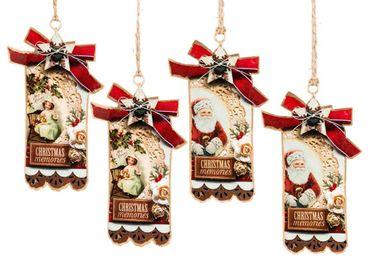 Metallhänger - Christmas memories - Geschenkanhänger Dekohänger, 4er Set