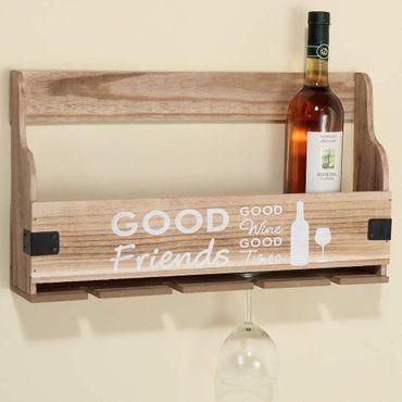 wandregal good friends good wine zum h ngen holzregal shabby landhausstil. Black Bedroom Furniture Sets. Home Design Ideas