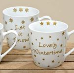 Jumbobecher - Winterzeit - Porzellantasse Kaffeebecher gold, 2er Set