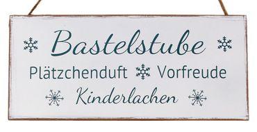 Holzschild - Bastelstube - Shabby Chic Deko Wandbild Türschild weiss