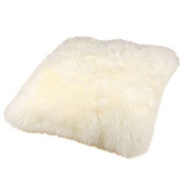 Lammfell Kuschelkissen weiß langwollig flauschig 40 x 40cm