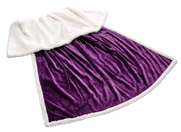 kuscheldecke microfaser mit pr gung pl schdecke tagesdecke wohndecke lila creme. Black Bedroom Furniture Sets. Home Design Ideas