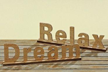 Aufsteller Schriftzug Relax Dream Landhaus 2er Set