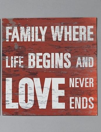 Nostalgie Blechschild Family where life begins and love never ends – Bild 1