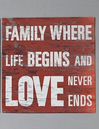 Nostalgie Blechschild Family where life begins and love never ends