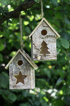 Vogelhaus Sanne aus Holz Vogelhäuschen Deko- Nistkasten 2er Set