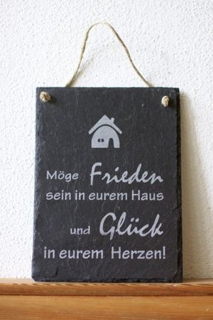 Schiefer Türschild Haussegen Wandbild Schild ...und Glück in Eurem Herzen Motiv: Haus