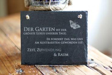 Schiefertafel Gartenspruch -Garten ist der grösste Luxus Schiefer Schild Schmetterling