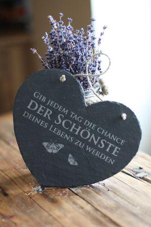 Schieferherz - Gib jeden Tag die Chance Tafel Schild 24x19