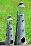 Windlicht Leuchtturm Metall Zink- Optik