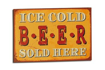 Schild - Ice cold Beer sold here - Vintage Retro