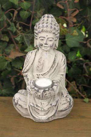 Buddha- Figur Skulptur Gartenfigur Dekofigur mit Windlicht