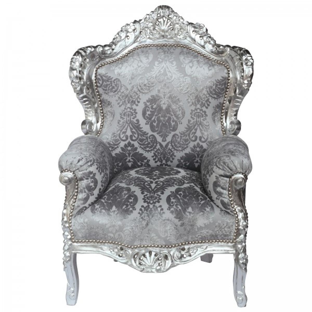 Vintage Thron Sessel Samt Musterstoff Relief Grau Silber Holzrahmen