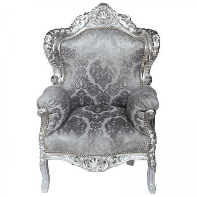 Vintage Thron Sessel Samt Musterstoff Relief Grau silber Holzrahmen Barocksessel