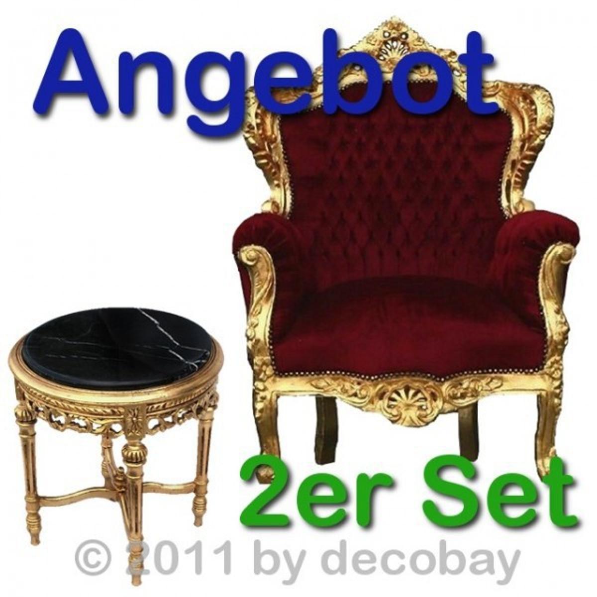 Antike Einrichtung Set Barocksessel Marmortisch in gold und rot für ...