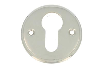 silber glänzende Schlüsselrosette rund Einzelteil Türbeschlag Zylinder Metall