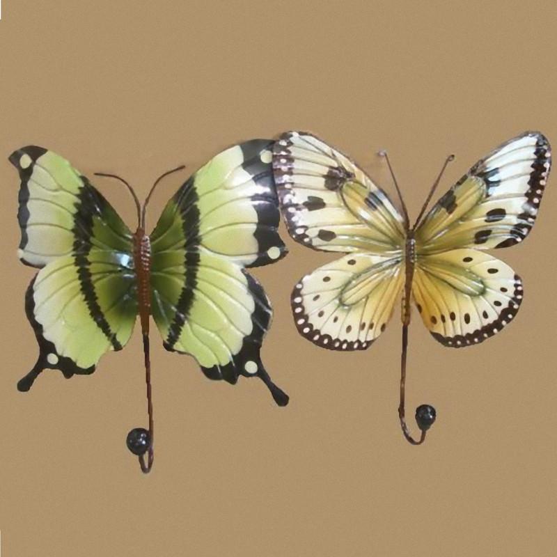 2 Wandhaken Schmetterling Metall Set Handtuchhalter Motiv Deko Haken Küche Bad