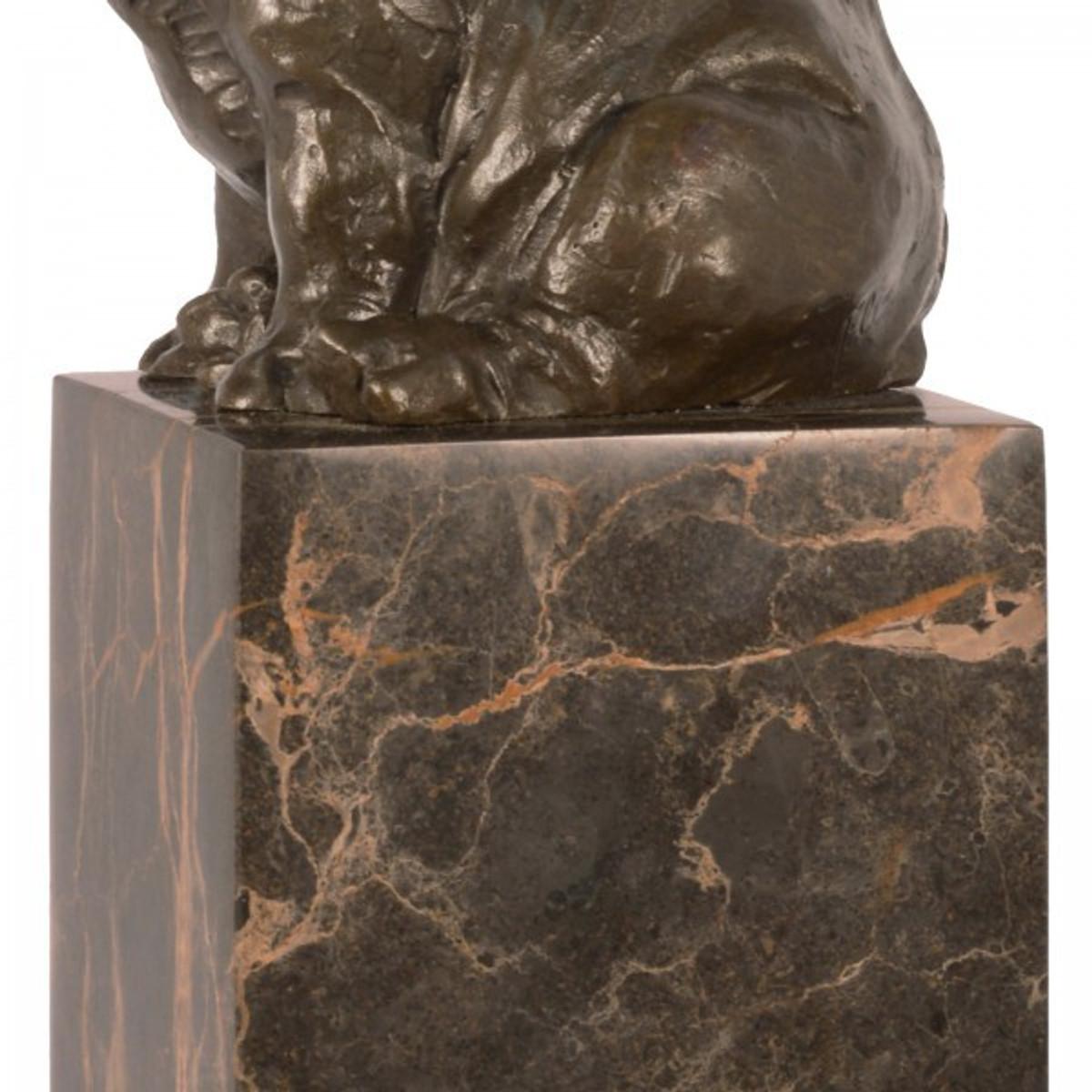 Bronzefigur Tier Figur Nashorn sitzend auf Marmorblock als edle Geschenkidee.