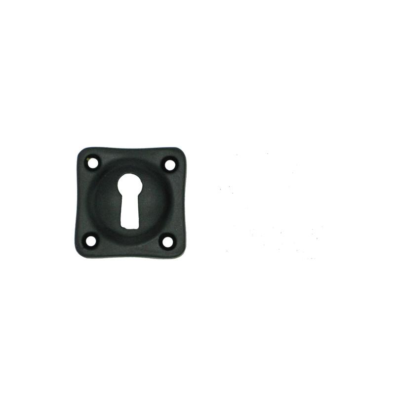 Schwarze Rosette für Buntbart Schlüssel Als eckiger Türbeschlag für viele Türen.