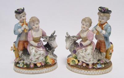 Mann & Frau mit Ziegen im feinen Porzellan Set. Schöne Wohndeko ländlich.