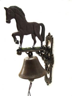 Pferdemotiv Metallglocke als Hauseingang Dekoration mit edler Ross Figur.