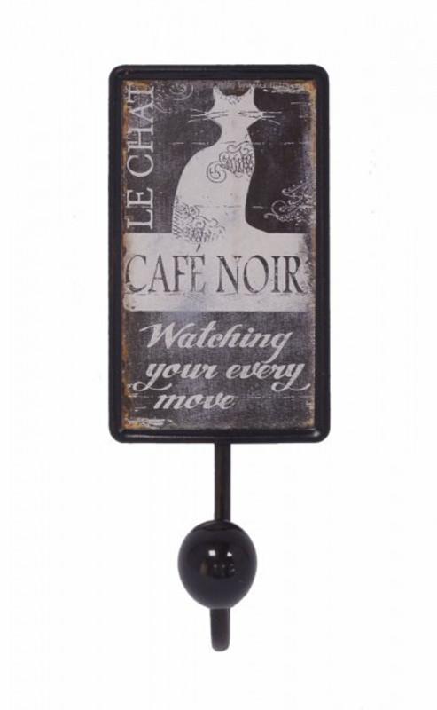 Eisenschild Cafe Noir Katze Schwarz Wandhaken Haken Handtuchhalter Garderobe Deko