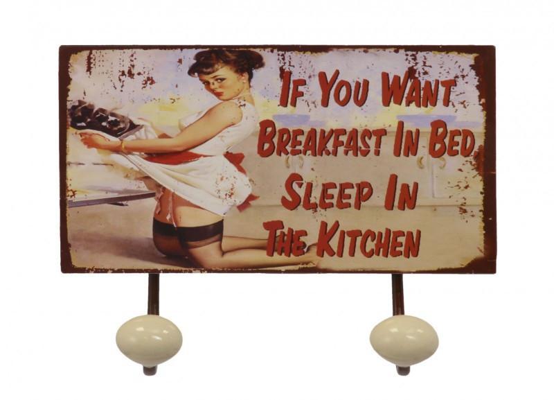 "Eisenschild ""If you want Breakfast"" Wandhaken 2er Haken Handtuchhalter Garderobe"