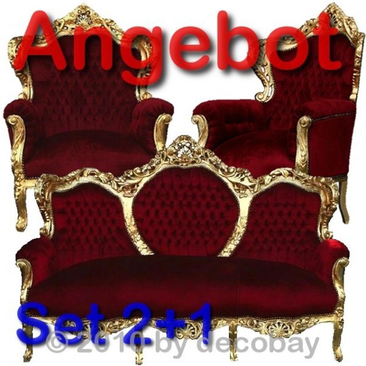 Wohnzimmermöbel Aus Holz Barock Sessel Sofa Antik SPARSET Rot Gold ANGEBOT