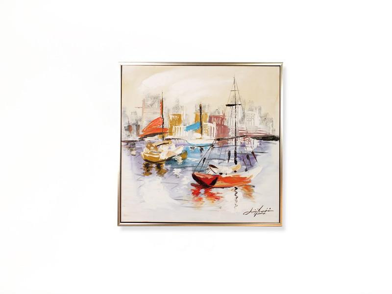 Ölbild eines liebevoll gemalten Stadthafens mit vielen Schiffen und Farben auf einer 80x80cm Leinwand mit Rahmen