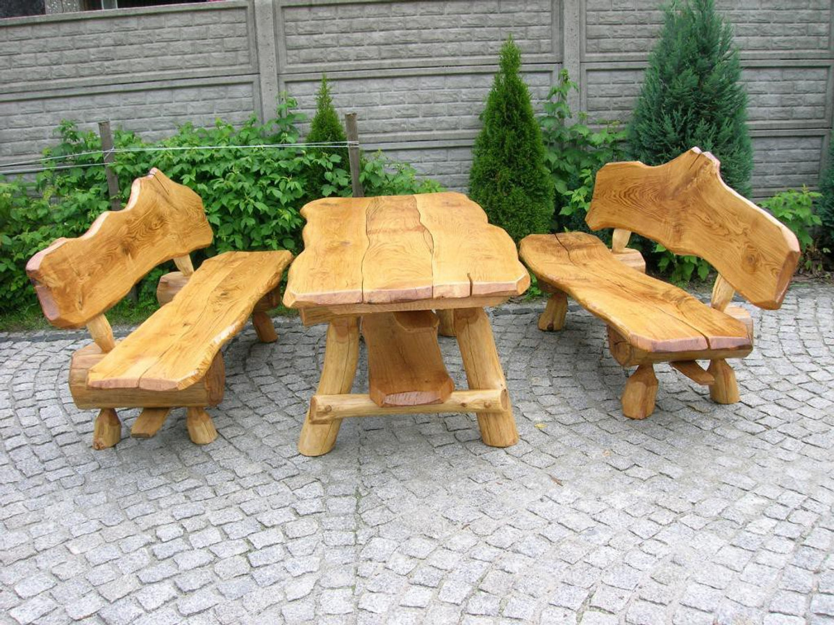 rustikale sitzgruppe aus eiche f r den garten langer. Black Bedroom Furniture Sets. Home Design Ideas