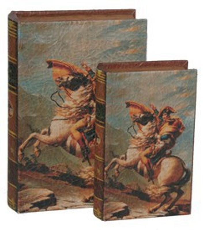 Buchboxen Paar Leder Bücher Box Verstecke Napoleon Pferd Angriff Nostalgie Dekoration