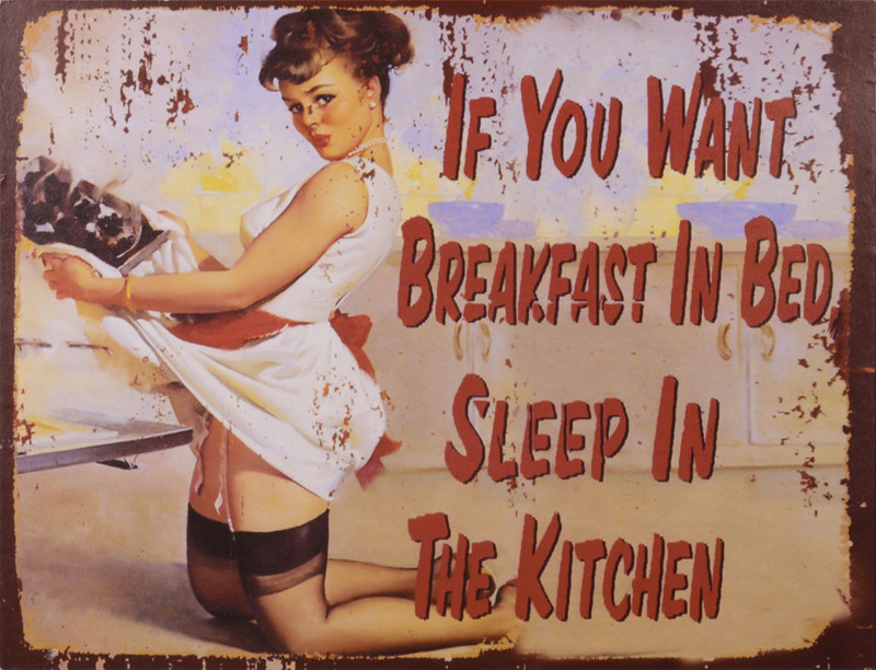 "Nostalgisches Blechschild ""If You Want Breakfast Im Bed Sleep In The Kitchen"" für die Küche und Schlafzimmer"
