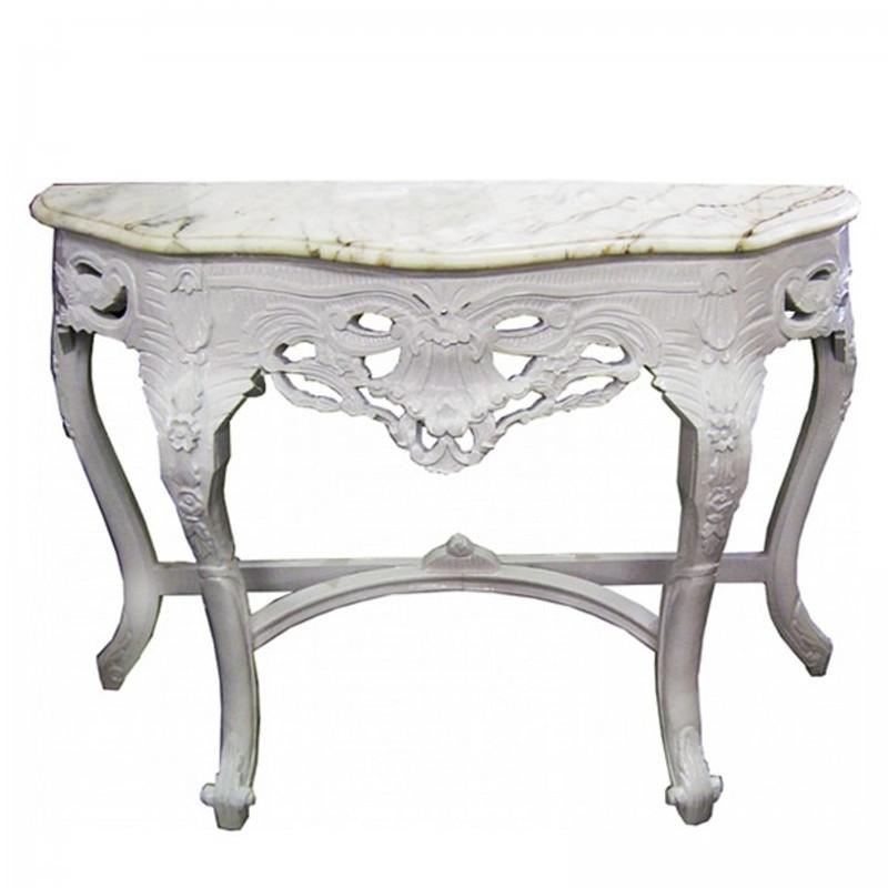 Barocke Antik Konsole Replikat weiß Holz Tisch Marmor