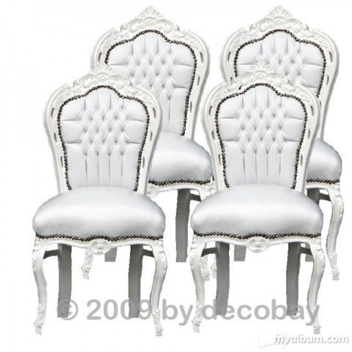 [Paket] Esszimmerstühle Weiss Barockmöbel Antik Stil Sitzgruppe 4 Barock  Stühle Set Weiß