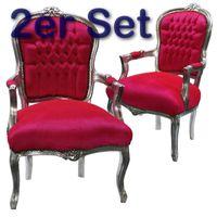Stuhl Lounge Set Sonderangebot pink 2 x Barock Salon Stühle Sessel pink silber