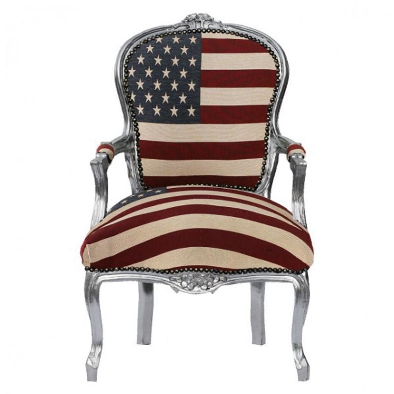 Flagge von den USA Barock Lounge Stuhl mit Stars and Stripes Flagge Holz silbern
