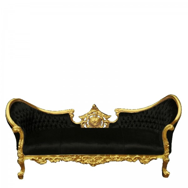 Barock Design Sofa schwarz gold Sofa Couch 3 Sitzer Barock ...
