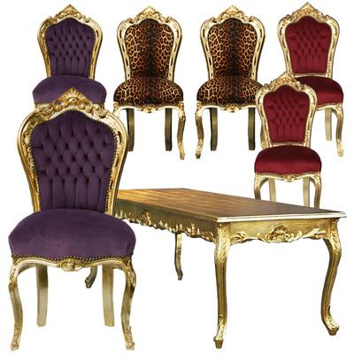 Echtes Schnäppchen Super Preis 7er Set: 6 Stühle + Tisch Gold Antikstil Barock