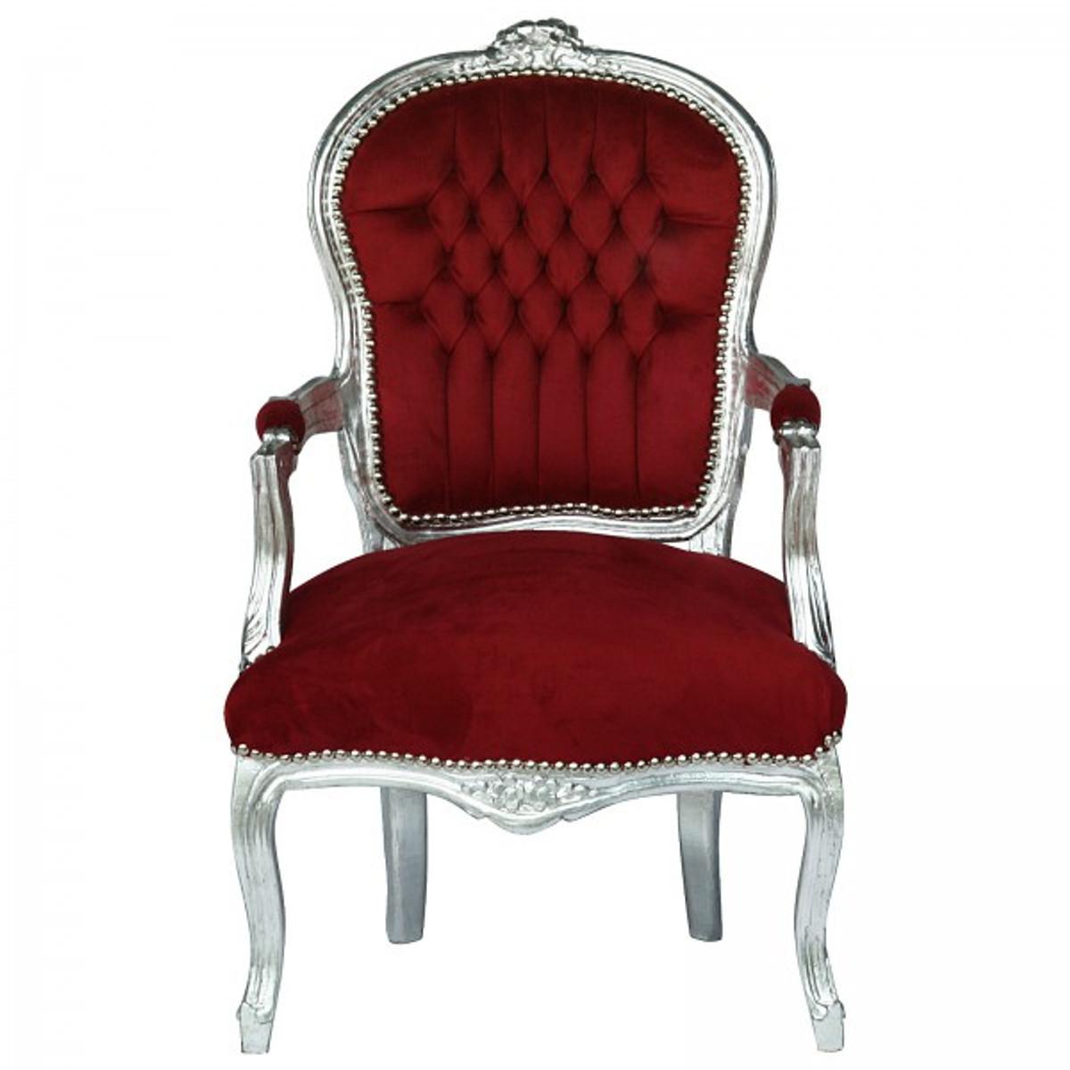 Stuhl Lounge Rokoko Barock Konferenzstuhl Silber Rot nP0k8wO