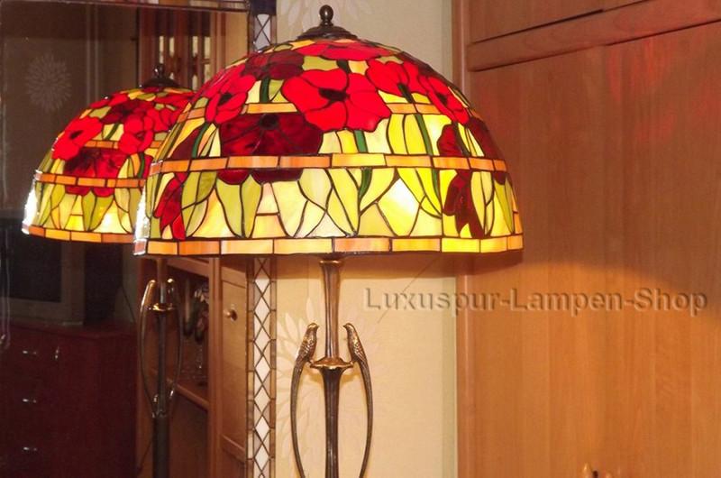 """Stehlampe """"Renata"""" im Tiffany Stil - Buntglaslampe aus Bronze mit buntem Blumen-Motiv"""