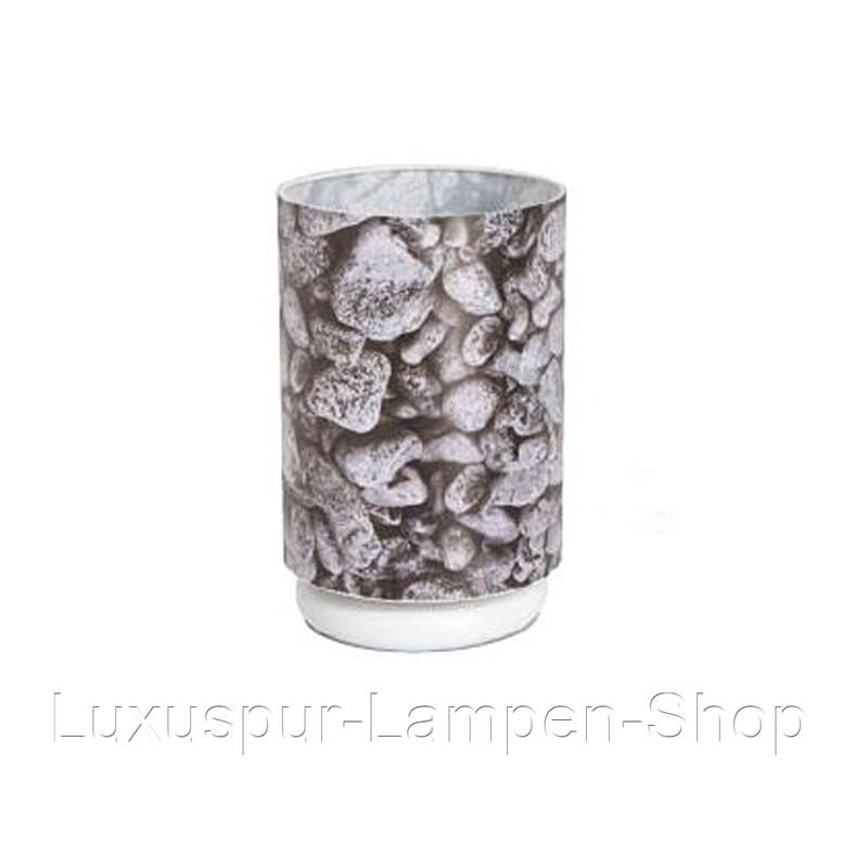 Tischlampe Nivola - rund aus Metall und PVC mit Stein Muster