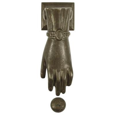Türklopfer Eingangstür Türklopfer in Hand Form aus Messing Antik Stil Look Tür Klopfer