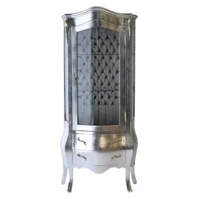 Glas Vitrine in Silber aus Holz exklusive Barockkommode mit Vitrinen Aufbau