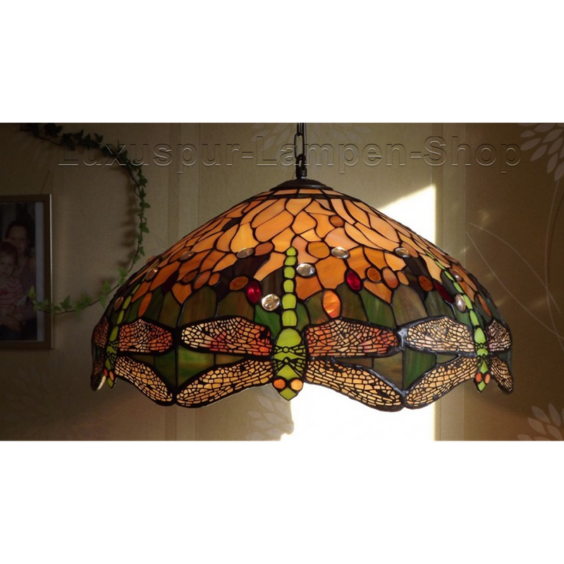 Tiffany Stil Pendelleuchte DRAGO - mit grünen Libellen