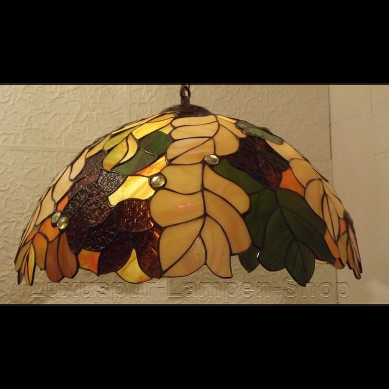 Tiffany Stil Deckenlampe QUEA - Motiv Eichenblätter